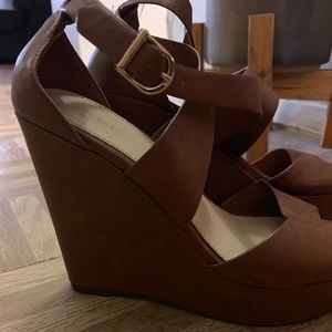 Faux Brown Leather Wedges